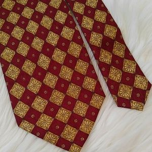 Vintage Valentino Red Gold Silk Tie 57""